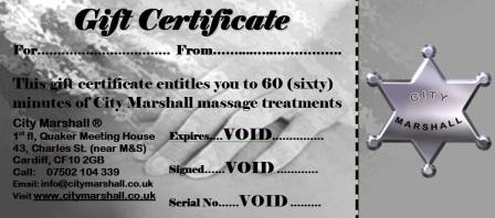 City Marshall Massage Gift Voucher for 60 minutes massage treatment