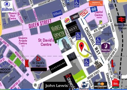 how to find City Marshall massage cardiff - quaker meeting house cardiff city centre with free parking available on-site