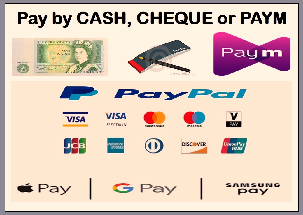 payment accepted in cash cheque check paym pay-m Barclays Pingit. There is a 3% fee on all card payments