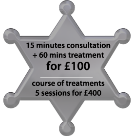 Special massage offer on five massage treatments: Free 15 minute consultation + 60 minute massage treatment  cost £88  - A Course of five massage Treatment sessions for only £380